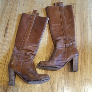 Frye Villager Pull-On Distressed Leather Tall Boot